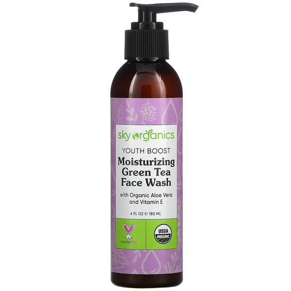 Youth Boost, Moisturizing Green Tea Face Wash with Organic Aloe Vera and Vitamin E,  6 fl oz (180 ml)