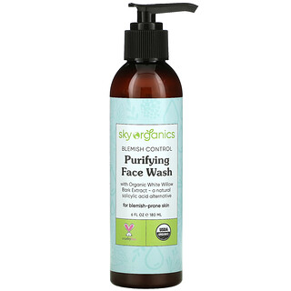 Sky Organics, Blemish Control, Purifying Face Wash with Organic White Willow Bark Extract, 6 fl oz (180 ml)