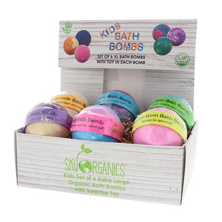 Sky Organics, Kids Bath Bombs with Surprise Toys, 6 Bath Bombs