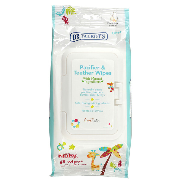 Pacifier & Teether Wipes, 0m +, Vanilla Milk Flavored, 48 Wipes