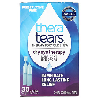 TheraTears, Dry Eye Therapy, Lubricant Eye Drops, 30 Sterile Single-Use Vials
