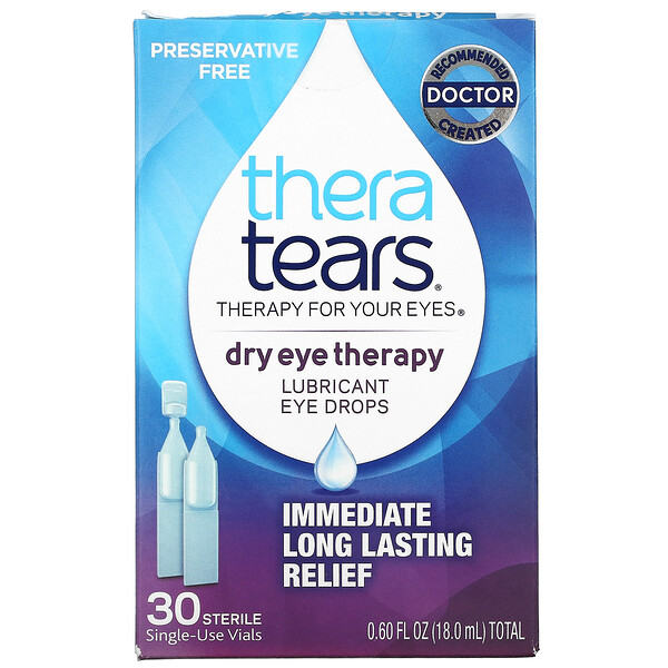 Dry Eye Therapy, Lubricant Eye Drops, 30 Sterile Single-Use Vials