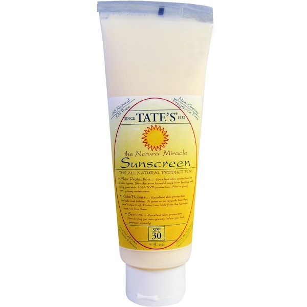Tate's, The Natural Miracle Sunscreen, SPF 30, 4 fl oz (Discontinued Item)