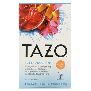 Tazo Teas, Herbal Tea, Iced Passion, Caffeine-Free, 6 Tea Bags, 2.85 oz (81 g)