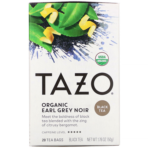 Organic Earl Grey Noir, Black Tea, 20 Tea Bags, 1.76 oz (50 g)