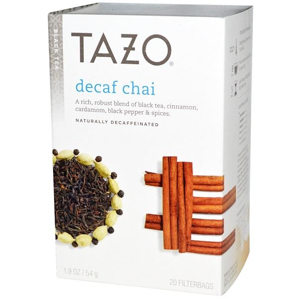 Tazo Teas, Decaf Chai,天然無咖啡因,紅茶,20 過濾茶包,1、9盎司(54克)