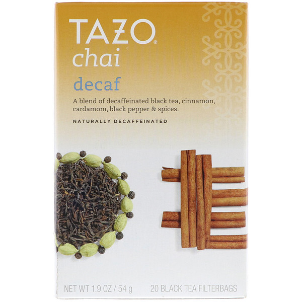 Tazo Teas, Decaf Chai, Naturally Decaffeinated, Black Tea, 20 Filterbags, 1.9 oz (54 g)