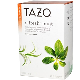 Tazo Teas, Herbal Tea, Refresh Mint, Caffeine-Free, 20 Filterbags, 0.8oz (24 g)