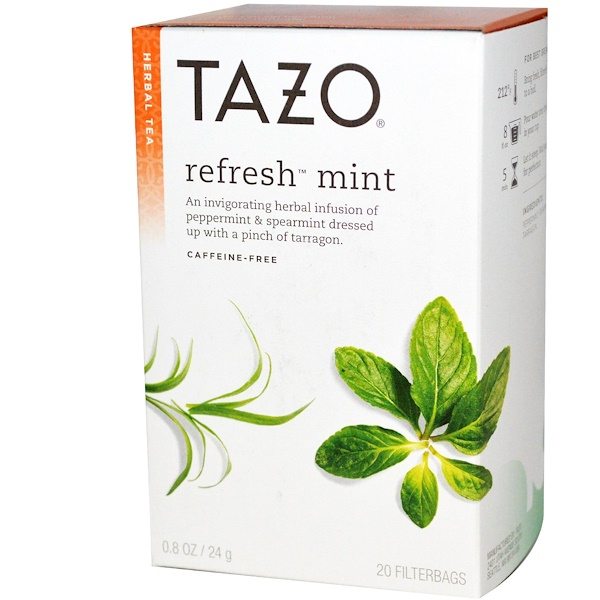Tazo Teas, Herbal Tea, Refresh Mint, Caffeine-Free, 20 Filterbags, 0.8oz (24 g) (Discontinued Item)