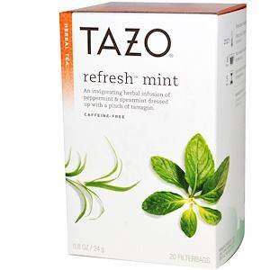Tazo Teas, Травяной мятный чай без кофеина, 20 фильтр-пакетиков, 0.8 унций (24 г) инструкция, применение, состав, противопоказания