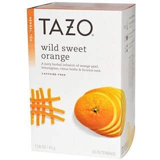 Tazo Teas, Wild Sweet Orange, Herbal Tea, Caffeine-Free, 20 Filterbags, 1.58 oz (45 g)