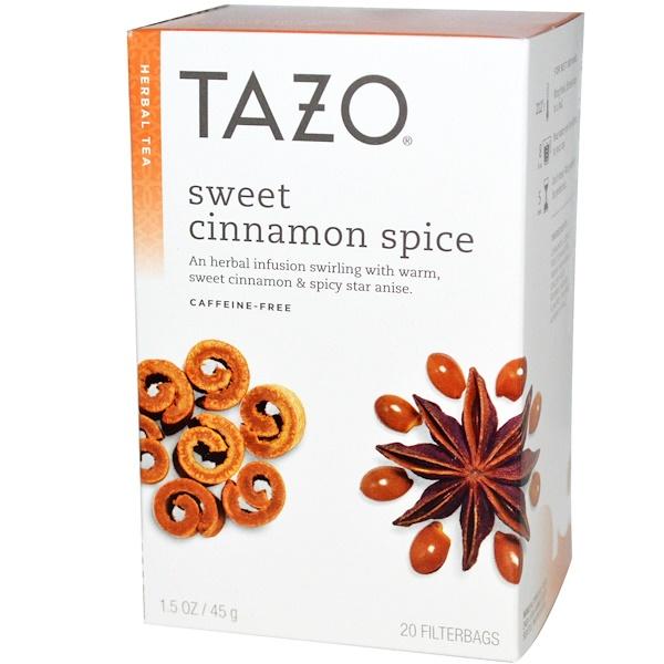 Tazo Teas, 甜肉桂香料,無咖啡因,草本茶,20過濾袋,1、5盎司(45克)