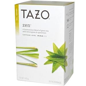 Tazo Teas, Дзен, зелёный чай, 20 чайных пакетиков с фильтром, 1.5 унций (43 г) инструкция, применение, состав, противопоказания