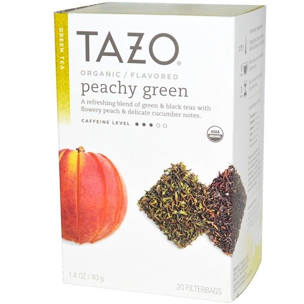 Tazo Teas, オーガニック, 緑茶, ピーチーグリーンフレーバー, フィルターバッグ 20袋, 1.4 オンス (40 g) (Discontinued Item)