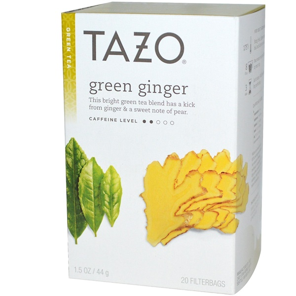 Tazo Teas, Green Ginger, Green Tea, 20 Filterbags, 1.5 oz (44 g) (Discontinued Item)