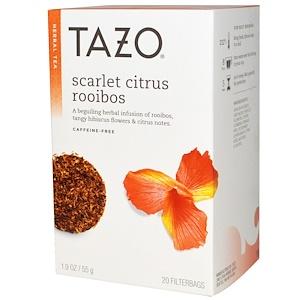 Tazo Teas, Травяной чай, Цитрусовый ройбуш «Скарлет» без кофеина, 20 чайных пакетиков, 1,9 унции (55 г) инструкция, применение, состав, противопоказания