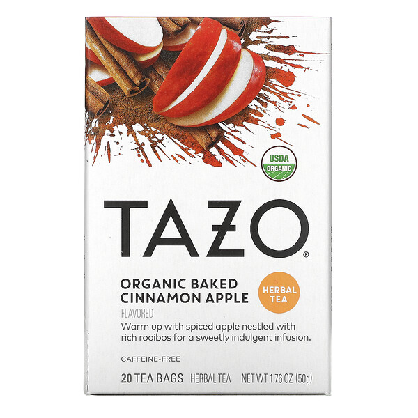 Herbal Tea, Organic Baked Cinnamon Apple, Caffeine-Free, 20 Filterbags, 1.76 oz (50 g)