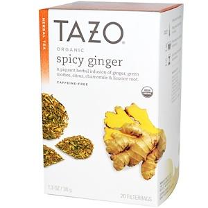 Tazo Teas, Organic, травяной чай, пряный имбирь, без кофеина, 20 пакетиков с фильтром, 1,3 унции (38 г) инструкция, применение, состав, противопоказания