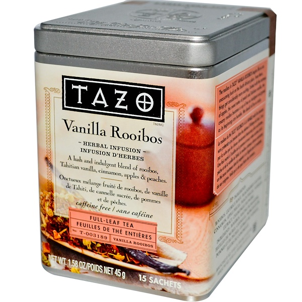 Tazo Teas, Vanilla Rooibos, Full Leaf Tea, Herbal Infusion, Caffeine Free, 15 Sachets, 1.58 oz (45 g) (Discontinued Item)