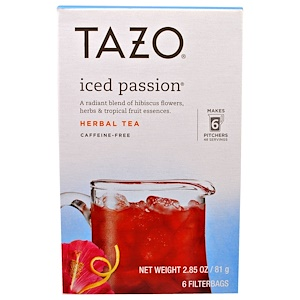 Tazo Teas, Tazo, Iced Passion, замороженный травяной чай, 6 пакетиков, 2.85 унции(81 г) инструкция, применение, состав, противопоказания
