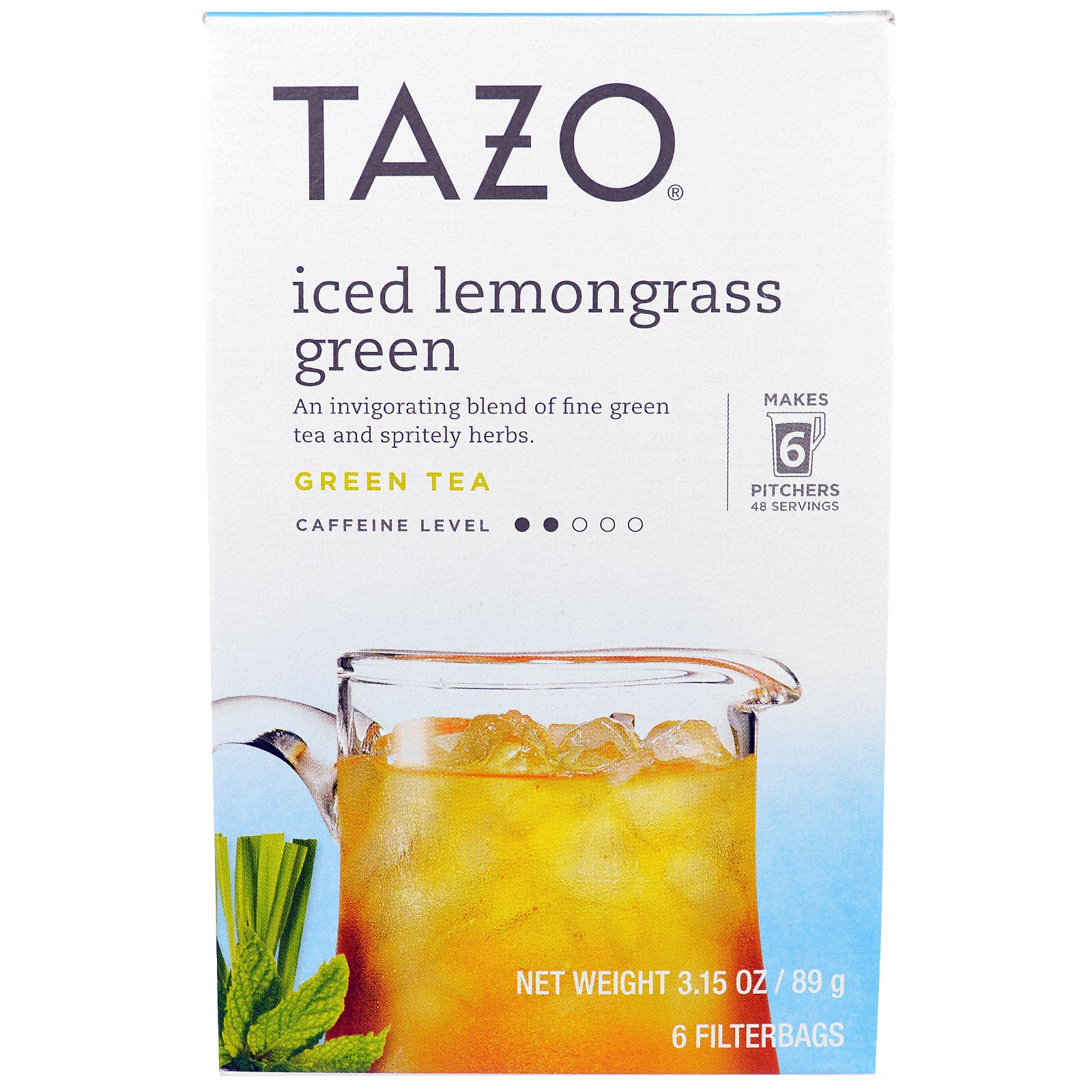 Tazo Teas, Замороженный зеленый чай с лимонником, 6 пакетиков, 3.15 унции(89 г)