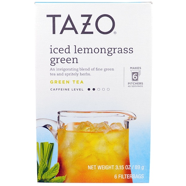 Tazo Teas, Iced Lemongrass Green Tea, 6 Filterbags, 3.15 oz (89 g) (Discontinued Item)
