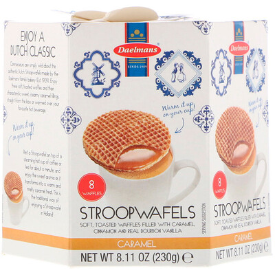 Купить Daelmans Stroopwafels, Large Hex Box, Caramel, 8 Waffles, 8.11 oz (230 g)