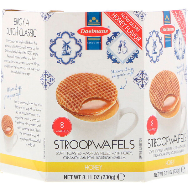 Daelmans, Stroopwafels, Large Hex Box, Honey, 8 Waffles, 8.11 oz (230 g)