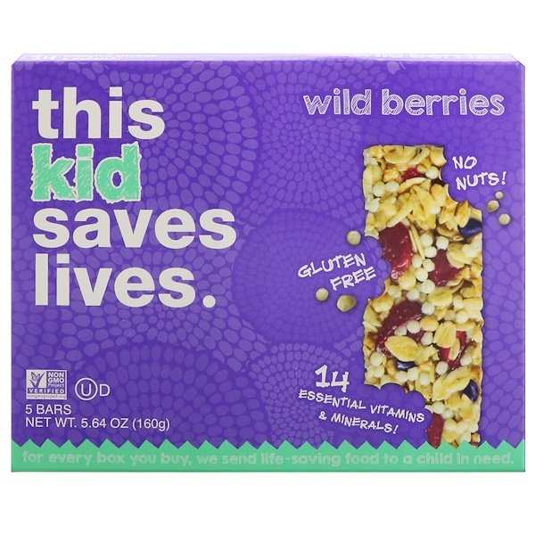 This Bar Saves Lives, LLC, Kid, Wild Berries, 5 Bars, 5.64 oz (160 g) (Discontinued Item)