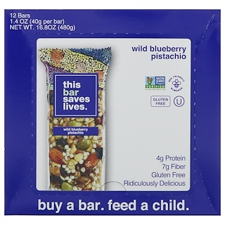 This Bar Saves Lives, LLC, Wild Blueberry Pistachio, 12 Bars, 1.4 oz (40 g) Each