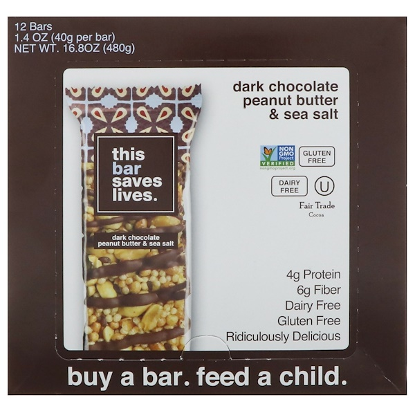 This Bar Saves Lives, LLC, 黑巧克力花生醬和海鹽,12 條,每條 1、4 盎司(40 克)
