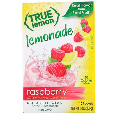 Купить True Citrus True Lemon, Малиновый лимонад, 10 пакетов, 1, 06 унц. (30 г)