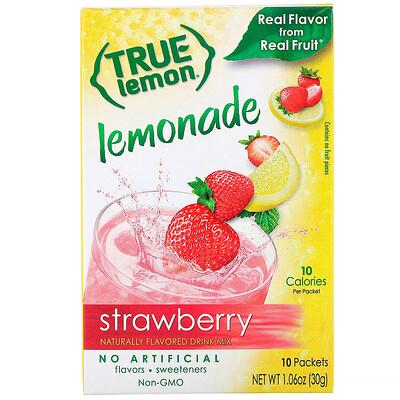 True Citrus Настоящий лимон, клубничный лимонад, 10 пакетиков, 1, 06 унц. (30 г)  - купить со скидкой