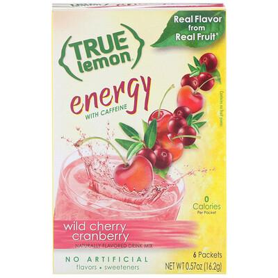 Купить True Citrus True Lemon, Energy, Wild Cherry Cranberry, 6 Packets, 0.57 oz (16.2 g)