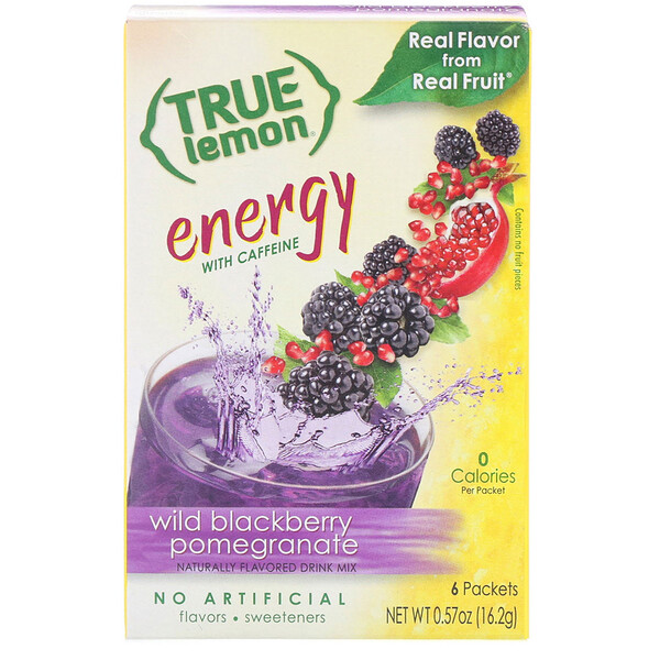 True Lemon, Energy, Wild Blackberry Pomegranate, 6 Packets, 0.57 oz (16.2 g)
