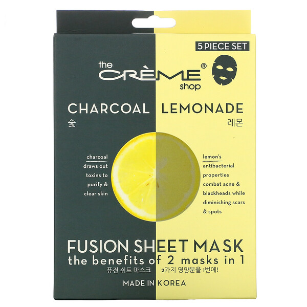 Fusion Beauty Sheet Mask, Charcoal Lemonade, 5 Sheets, 4.40 oz (125 g)