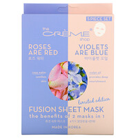 The Creme Shop, Fusion Beauty Sheet Mask, Roses Are Red Violets Are Blue, 5 Sheets, 4.40 oz (125 g)