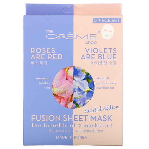 Fusion Beauty Sheet Mask, Roses Are Red Violets Are Blue, 5 Sheets, 4.40 oz (125 g)