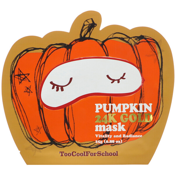 Too Cool for School, Pumpkin 24K Gold Beauty Mask, 1 Sheet, 0.88 oz (25 g)