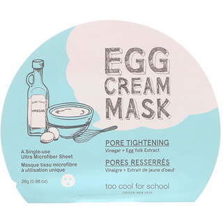 Too Cool for School, Egg Cream Mask, Pore Tightening, 1 Sheet, 0.98 oz (28 g)