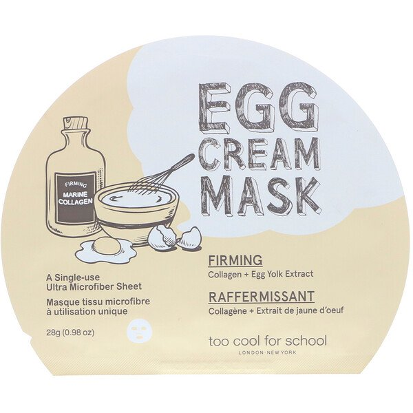 Too Cool for School, Mascarilla de crema con huevo, reafirmante, 1 plancha, 0,98 oz (28 g)