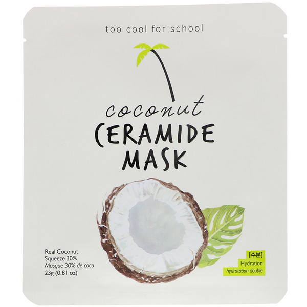 Too Cool for School, Coconut Ceramide Mask, 1 Sheet, 0.81 oz (23 g)
