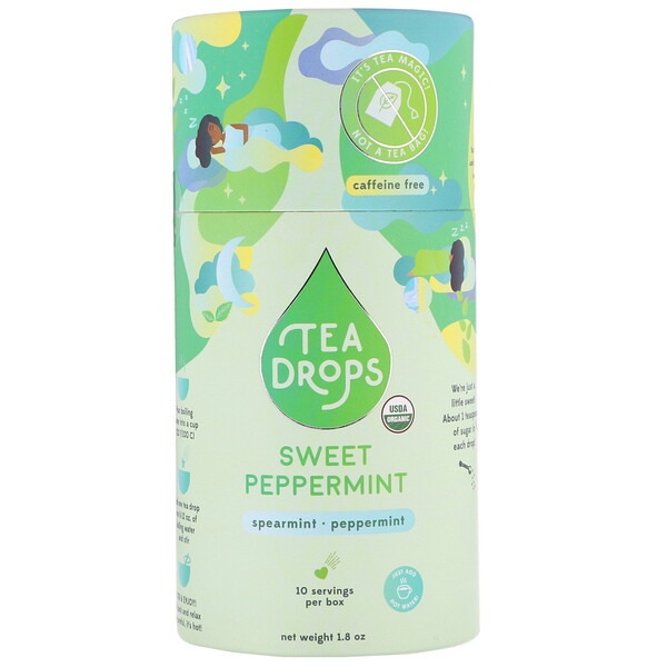 Tea Drops, Sweet Peppermint, Caffeine Free, 1.8 oz