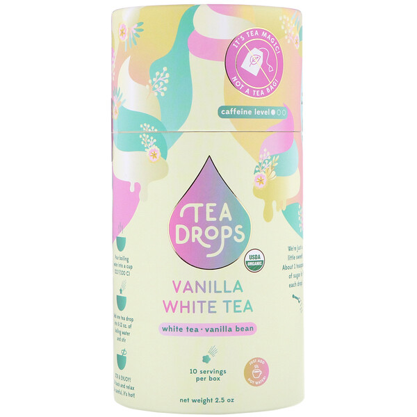 Tea Drops, Chá Branco com Baunilha, 2,5 oz (Discontinued Item)