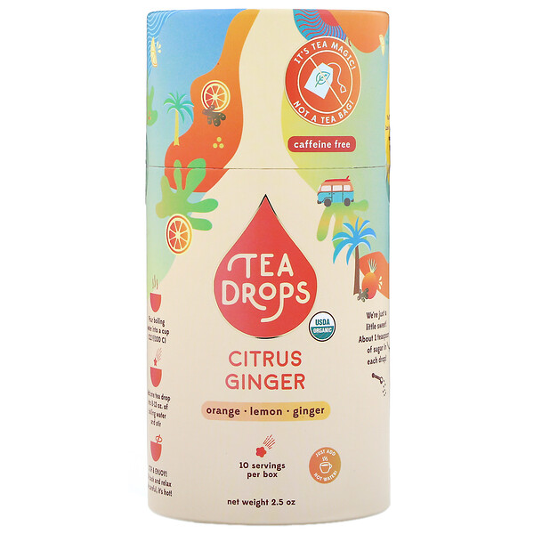 Tea Drops, Citrus Ginger, Caffeine Free, 2.5 oz
