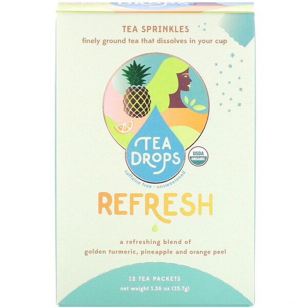 Tea Drops, Tea Sprinkles, Refresh, Caffeine Free, 12 Tea Packets, 1.26 oz (35.7 g) (Discontinued Item)