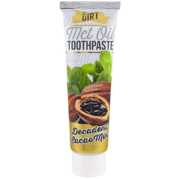The Dirt, MCT Oil Toothpaste, Decadent Cacao Mint, 6 Month Supply, 6.63 oz (188 g) (Discontinued Item)