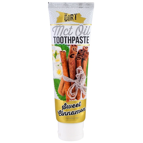 The Dirt, MCT Oil Toothpaste, Sweet Cinnamon, 6 Month Supply, 6.63 oz (188 g) (Discontinued Item)