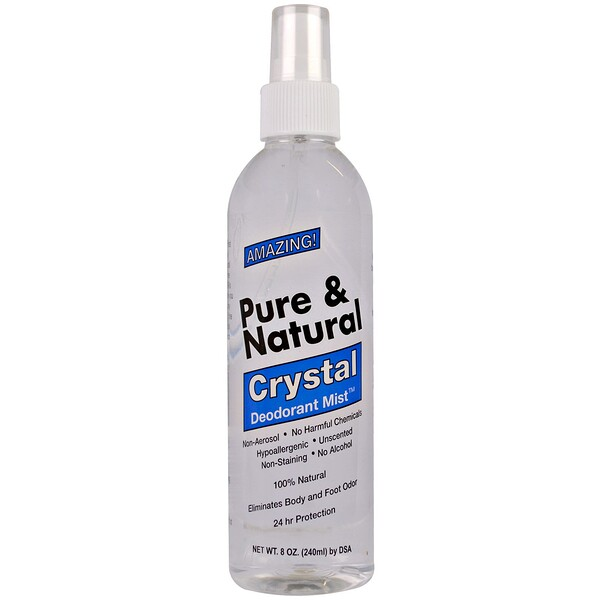 Pure & Natural, Crystal Deodorant Mist, Unscented, 8 oz (240 ml)
