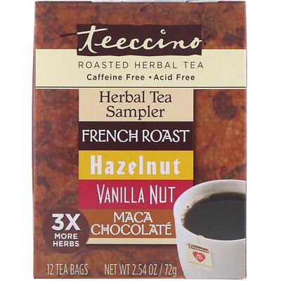 Купить Teeccino Roasted Herbal Tea Sampler, 4 Herbal Flavors, Caffeine Free, 12 Tea Bags, 2.54 oz (72 g)